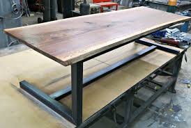 hand made walnut and steel contemporary coffee table by custom metal end tables