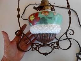antique orig victorian chandelier converted oil lamp hanging lamp hand painted