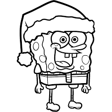 Small Picture Print Spongebob Squarepants Christmas Santa Coloring Page or