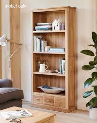 mobel solid oak modern large bookcase with 3 drawers