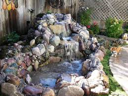Lawn & Garden:Marvelous Small Pond Ideas Usiang Stone Waterfall In Corner  Backyard Space Also