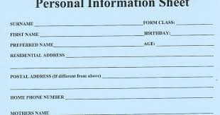 Personal Information Sheets 12pywghs2013 Blogspot Com Personal Information Sheet