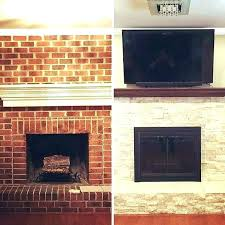 cover brick fireplace with stone fireplace refacing how to reface a brick fireplace covering a brick cover brick fireplace with stone