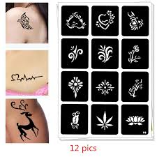 <b>12 pics Henna</b> Party Tattoo Stencils <b>DIY</b> Jagua Drawing Templates ...