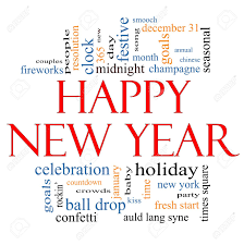 Happy New Year Word Cloud Concept With Great Terms Such As