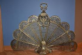 Antique Vintage Brass Fireplace Folding Peacock Fire Screen ...