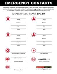 Emergency List Free Emergency Contact List Valley Alarm La Security
