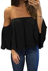 Women's <b>Summer Off Shoulder Blouses</b> Short Sleeves Sexy <b>Tops</b> ...