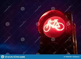 Green Light Cycle Night Bicycle Traffic Signal Green Light Stock Photo