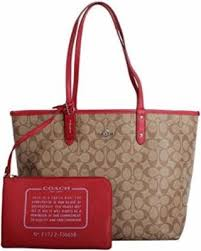 Coach Signature PVC Reversible City Large Tote Bag F36658 Khaki True Red,  Women s,