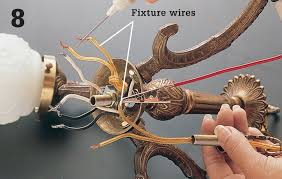 purchase and install a new chandelier socket threading the socket wires through the fixture arm