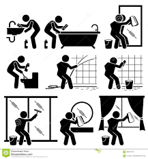 Man Cleaning Bathroom Toilet Windows And Mirror Clipart Stock