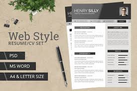Modern Typographic Resume Set Web Style Resume Cv With Ms Word By Typography Prime On Creative
