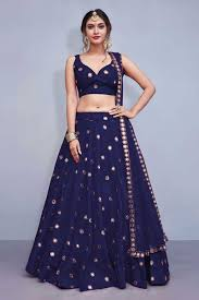 Lehenga Choli Designs Stylish Dark Blue Designer Lehenga Choli