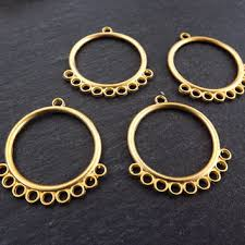 round looped chandelier earring necklace components with 9 loops 22k matte gold plated brass new