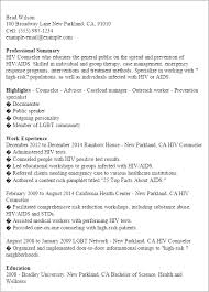 Resume Templates: Hiv Counselor