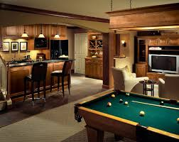 furniture for basement. Furniture:Alluring Rustic Dark Basement Decorating Ideas With Pool Table Also Small Wooden Bar Furniture For
