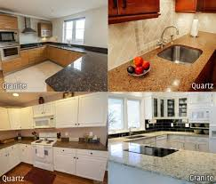 a side by side comparison of granite and quartz used in kitchen countertops