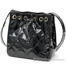 kaitorikomachi chanel matelasse draw string shoulder bag black patent leather classical here mark twist lock motif quilting vintage drawstring purse