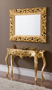 hall table and mirror. Console Table Design, Tables With Mirror Rectangle Carved Floral Pattern Gold Stained Wooden Ornate An Hall And Y