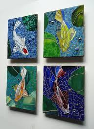 mosaic koi tiles outdoor glass wall art set of 4