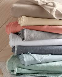 linen bed sheets eileen fisher washed linen sheets with raw hem and picot detailing
