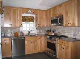 Cabinet And Stone City Oak Cabinets White Subway Tile Windswept Blue Walls Shaker