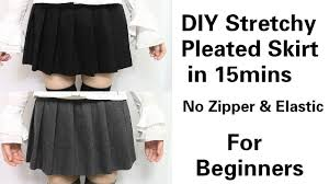 Pleated Skirt Pattern Custom DIY EasyQuick Stretchy Pleated Skirt In 48mins For Beginners No