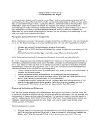 Example Of A Comparison And Contrast Essay Compare And Contrast Essay Dual Enrollment Ms Meyer In Your