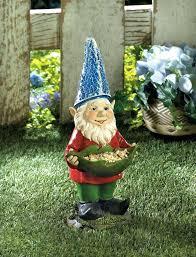 solar garden statue bird feeder gnome boy with flashlight and frog