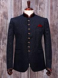 Buy Designer Coat Terry Rayon Navy Wedding Wear Jodhpuri Suit Coat Suit Mens