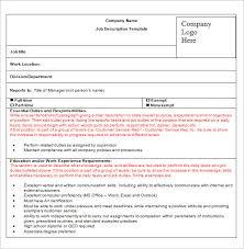 Job Description Form Teacher Recommendation Letter Samples Template Impressive Job Description Template Word