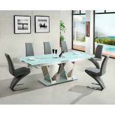 extended glass dining table. nico extending glass dining table in white and 6 grey chairs extended