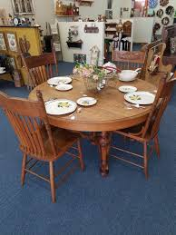 lovely 55 round oak table with 4 chairs in the ready to go to