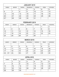 Free Download Printable Calendar 2019 4 Months Per Page 3 Pages