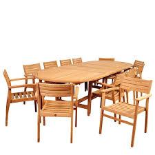 international home miami ia mondavi 13 piece teak double extendable oval dining set