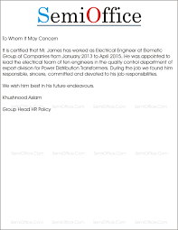 Electrical Engineer Experience Letter Sample