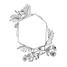 Vignette Design Graphic Floral Geometry Frame Vector Leaves And Flowers In