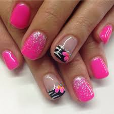 Hot pink gel nails with fading glitters and zebra design ...