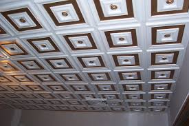 decorative ceiling tiles. The Pattern Of This Ceiling Consists A Flower, Probably Daisy In Smaller Molding Decorative Tiles