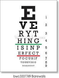 Printable Eye Chart Optometry Eye Chart Illustration Art Print Poster