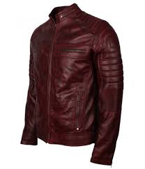 Discount Designer Mens Leather Jackets Mens Cafe Racer Style Quilted Waxed Brown Biker Leather Jacket