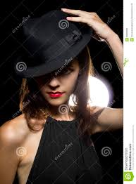 actress with clic smoky dark make up in hollywood film noir style