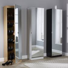 Slim Shoe Cabinet Devon 6ft Tall Slim Shoe Storage Cabinet Full Length Mirrored Door