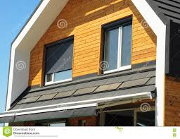 Close Up On House Blinds Sun Protection Exterior Windows In New - Exterior windows