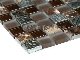 glass stone mosaic tile glass stone and metal mosaic 1 x 1 glass tile dark marble