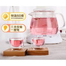 glass teapot with electric warmer double wall glass tea cup flower tea herbal tea teapot set