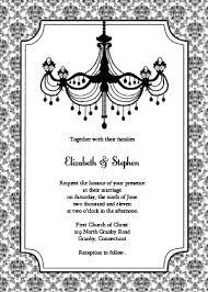 vintage chandelier invitation black