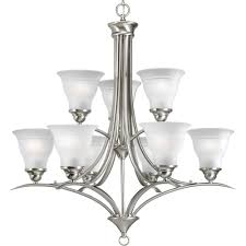 progress lighting trinity 9 light brushed nickel chandelier with etched glass