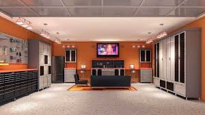 Garage Designs Interior Unique with Sleek And Neat Garage Man Cave  Completed By Seating And Tv